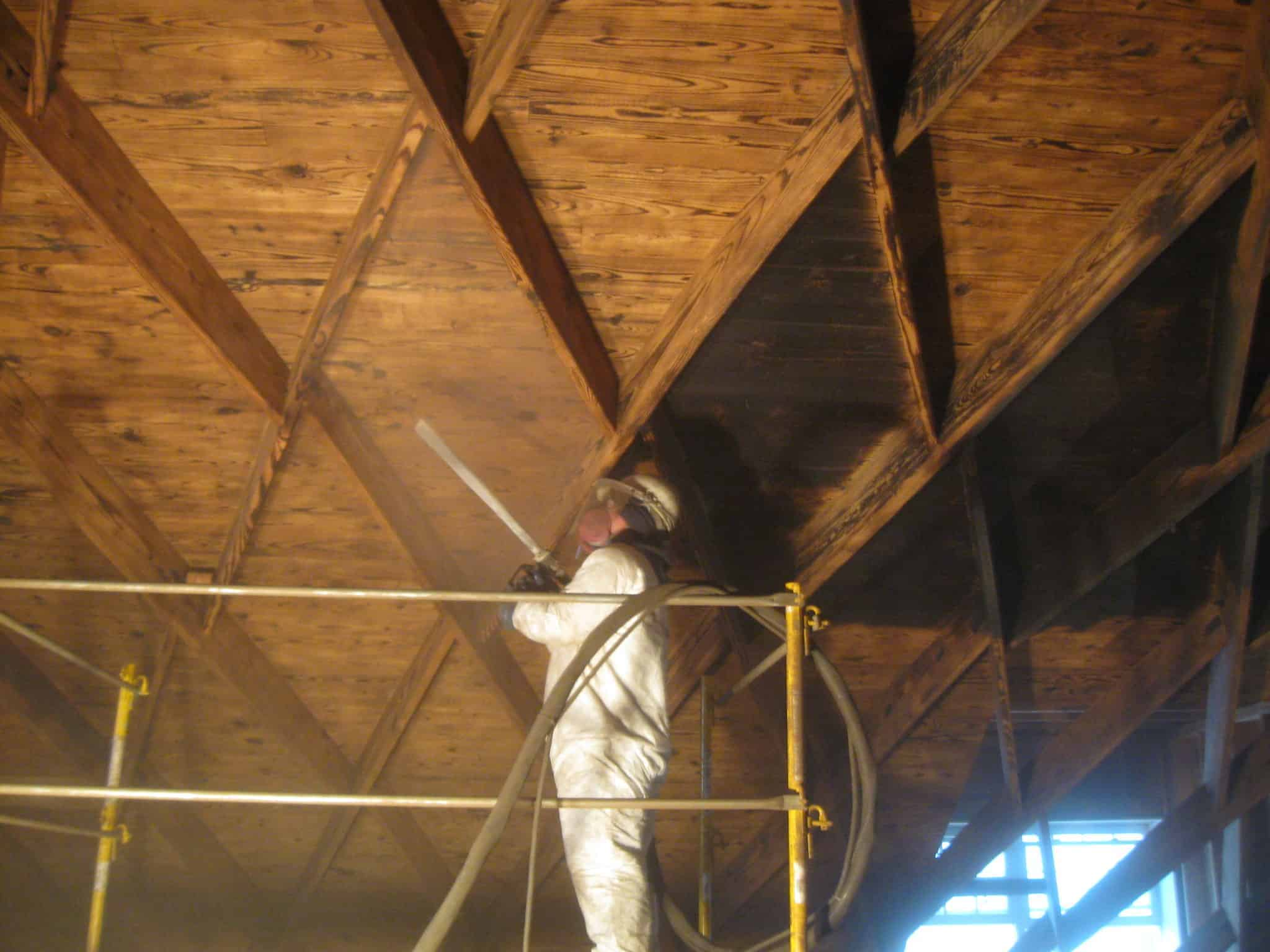 This historic ceiling was damaged by fire over 30 years ago. We successfully restored it using our dry ice blasting process.