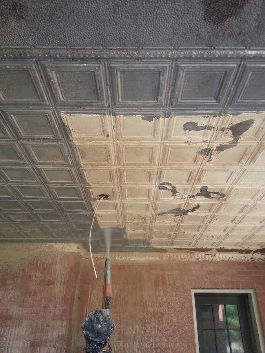 Paint Removal Dustless Blasting Tin Ceiling