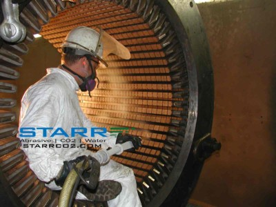 Starr Restoration Services, Inc. Technician Co2 Cleaning Electric Motor Before Rewind